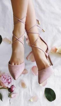 wedding photo - Dani Dusty Rose Suede Lace-Up Heels
