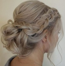 wedding photo - Side Braided Low Updo Wedding Hairstyle