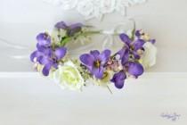 wedding photo - Bridal flower crown Wedding flower crown Purple floral headband Roses hair wreath Anemone Woodland crown Boho wedding halo Large crown