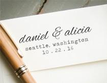 wedding photo - Custom Self Inking Stamp, Personalized Stamp, Custom Stamp, Rubber Stamp, Wedding Save the Date Stamp, Engagement Announcement, Calligraphy