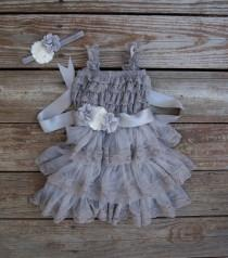 wedding photo - Gray flower dress. Country wedding. Rustic flowergirl dress. Girls grey dress. Toddler dress. Gray lace dress. Silver dress.