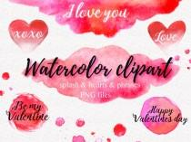 wedding photo - Watercolor Splash Hearts Digital Watercolor Valentine clipart Red Pink Hearts Valentine Day phrases Watercolor washes Png watercolor clipart