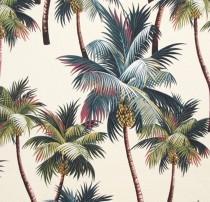 wedding photo - Fabric, Tropical Upholstery, Palm Trees Hawaii, Duvet Drapery, Home Decor Cotton Bark, HCV8260/Cream, Ask for bulk