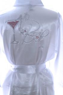 wedding photo - Satin Bridal Party Robe Rhinestone Bridal Designs