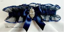 wedding photo - RHINESTONE Wedding garters Navy Blue Garter