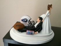 wedding photo - TENNESSEE TITANS Cake Topper Bridal Funny Humorous Wedding Day Football  team  Football Themed with matching Bridal  garter
