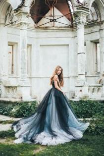 wedding photo - Calypso Nightfall // Volumetric Black Tulle Gown