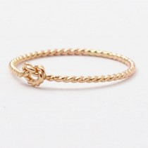 wedding photo - Love Knot Ring: Solid 14K Gold Twist, Promise Rings