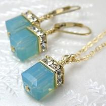wedding photo - Green Opal Swarovski Crystal Jewelry Set, Mint Cube Necklace and Earrings, Gold Filled, Bridesmaid Gift for Her, Spring Wedding