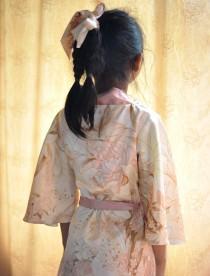 wedding photo - short kimono flower girl robe, rosegold satin robe,rose gold floral,peach blush lilly, shiny satin wedding dress, flower girls wedding dress