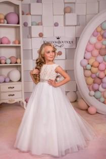 wedding photo - Cappuccino and Ivory Flower Girl Dress - Holiday Bridesmaid Birthday Wedding Party Ivory and Cappuccino Flower Girl Tulle Dress