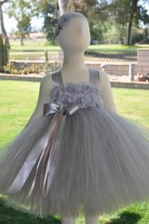 wedding photo - Shades of Grey Silver Flower Girl Dress, Infant Shabby Chic Grey Dress, Baby Grey Shabby Dress, Toddler Shabby Grey Dress