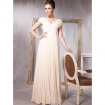wedding photo - Tempting Distinct Straps V-Neck Ruffle Column Yellow Chiffon Floor Length Prom Dress In Canada Prom Dress Prices - dressosity.com