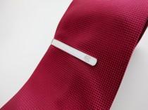wedding photo - Monogram Tie Clip Silver,Personalized Wedding Tie Clip for Groom,Custom Groomsmen Tie Clip,Engraved Tie Bar Clip,Monongram Tie Bar,Best Man