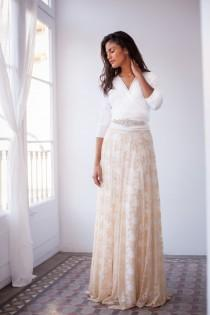 wedding photo - Bride in a hurry, long sleeved wedding dress, golden beige lace skirt, rustic chic ivory wedding dress, detachable lace skirt, golden lace