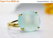 wedding photo - NEW YEARS SALE - Aqua Chalcedony Ring,gold cocktail ring,gold statement ring,semi precious ring,prong setting ring