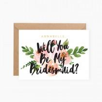 wedding photo - Personalised - Gold Foil - Custom - Will you be my Bridesmaid - Maid of Honor - Wedding - Invitation - Flower Girl - Floral - Rustic Flowers
