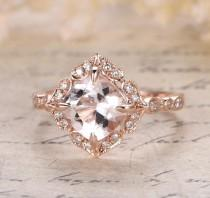 wedding photo - Limited Time Sale Antique 1.25 carat Morganite and Diamond Engagement Ring in 10k Rose Gold for Women