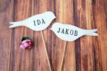 wedding photo - Personalized Name Bird Wedding Cake Toppers - Available in Different Colors