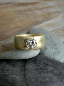 wedding photo - Chunky Gold Engagement Ring, Round Moissanite Wide Band Ring, Thick Band Engagement Ring, Diamond Alternative, Comfort Fit Low Profile Ring