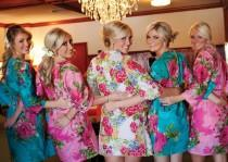wedding photo - Bridesmaids Robes Sets Kimono Crossover Robe. Bridesmaids gifts. Getting ready robes. Bridal Party Robes. Floral Robes. Dressing Gowns