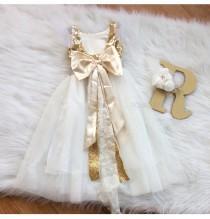 wedding photo - Gold flower girl dress, Floor length dress, Maxi flower girl dress, golden birthday party dress, vintage flower girl, junior bridesmaid