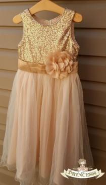 wedding photo - flower girl dress, flower girl dress champagne, flower girl dress gold, wedding dress, girls gold dress, sequin dress, gold sequin dress