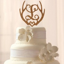 wedding photo - Any Letter! Wood Deer Antler Initial cake topper