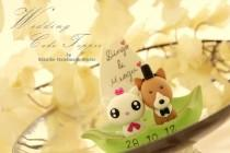 wedding photo - corgi and cat Wedding Cake Topper-love kitty,love cat and dog  with leaf boat---k876