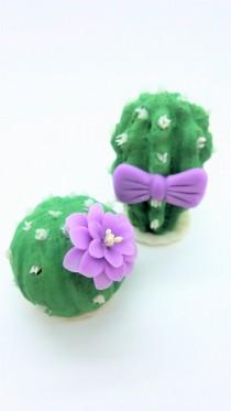 wedding photo - Wedding Cake Topper, Miniature Polymer Clay Flowers Handmade Supply Cactus, set of 2 pieces
