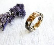 wedding photo - Black ring gold rings for women alternative engagement ring pastel goth jewelry pagan ring dark purple moss jewelry nature jewelry terrarium