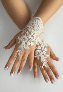 wedding photo -  FREE SHIP Ivory Wedding gloves free ship bridal gloves lace gloves fingerless gloves french lace gloves