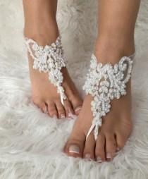 wedding photo - White pearl lace barefoot sandals, FREE SHIP, beach wedding barefoot sandals, bridal anklet, lace shoes, bridesmaid gift, beach shoes