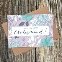 wedding photo - Will You Be My Bridesmaid? Floral Card