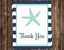 wedding photo - Starfish Thank You Cards, Bridal Shower, FREE ship, Nautical Starfish Aqua and Navy, NASAN, Set of 24 cards with envelopes