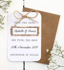 wedding photo - Rustic, Burlap, Hessian Save the Date Card with Twine Bow Detailing