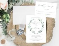 wedding photo - Leafy Wedding Invitation, Rustic Wedding Invitation, Simple Leaves Wedding Invitation