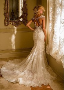 wedding photo - Buy Discount Stunning Tulle Sweetheart Neckline Mermaid Wedding Dresses With Lace Appliques At Dressilyme.com