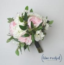 wedding photo - Peony Bouquet - Silk Bouquet, Wedding Bouquet, Blush, Blush Peony Bouquet, Garden Bouquet, Eucalyptus, Anemone, Hydrangea, Wedding Flowers