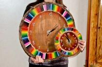wedding photo - MAXI orogogio wooden wall with Rainbow colors, handmade, diameter 50 cm