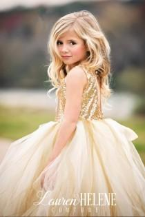 wedding photo - Sweet Delight Ivory/Champagne/Gold Couture Flower Girl Dress, Girls Gold Sequin Dress