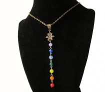 wedding photo - 7 Chakra Necklace. Gemstone Pendant Bronze Chain Necklace. Chakra Gift. Yoga Gift. Love Token. Made in Canada. 7CN1