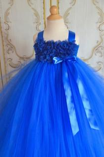 wedding photo - Horizon Royal blue  chiffon Hydrangea flower girl  tutu dress