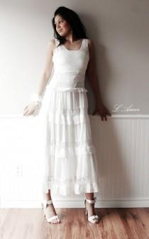 wedding photo - Soft Lace Ivory-White Romantic Beach Style Wedding Dress Gown