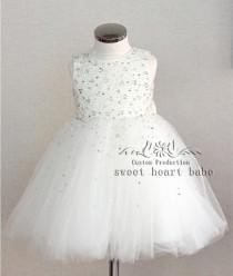 wedding photo - Ivory Flower Girl Dress - flower girl dress with beading-junior bridesmaid dress- Baby Dress - tulle Flower girl Dress -birthday party dress