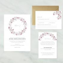 wedding photo - Printable Floral Wreath Wedding Invitation