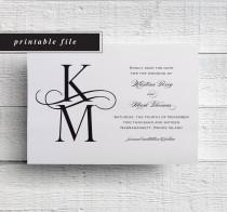 wedding photo - Monogram Save the Date Black and White Save the Date Printable