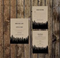 wedding photo - DIY Printable Woodsy Wedding Invitations with RSVP & Information Card. Kraft Paper Background, Black and Charcoal pine trees and mountains.