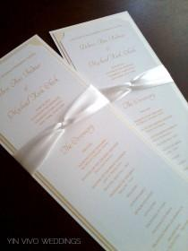 wedding photo - Wedding Program in Custom Colors, Fonts, Double Sided with Ribbon Knot - Bistro Collection SAMPLE