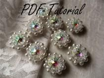 wedding photo - Melissa Crystal brooch component Wedding decoration Fabric flower bouquet component PDF tutorial Cake topper Hair pin applique